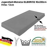 ELBBRISE Hochbettmatratze Kindermatratze mit Baumwollbezug Grau Matratze für Kinderbetten Schaumkern 12cm Hoch ÖKOTEX-100 90x200cm #14271