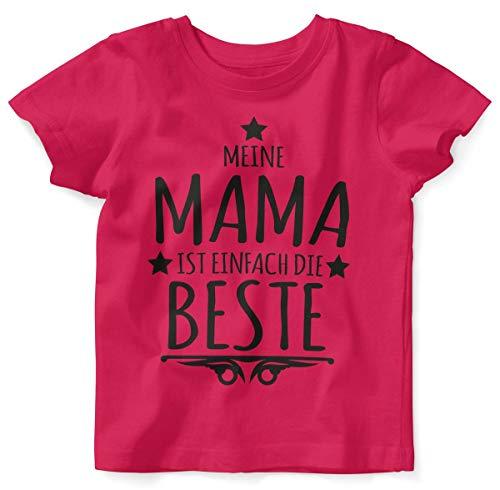 Mikalino Baby/Kinder T-Shirt mit Spruch für Jungen Mädchen Unisex Kurzarm Meine Mama ist einfach die Beste | handbedruckt in Deutschland | Handmade with Love, Farbe:himbeerpink, Grösse:92/98