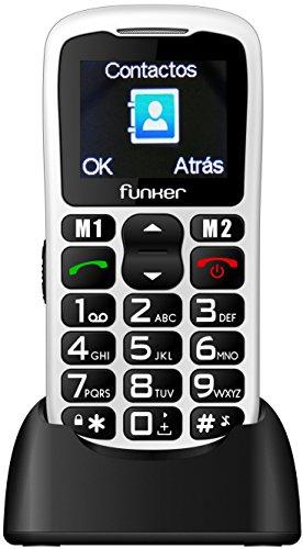 Teléfono Móvil Funker C50 Easy Blanco para Personas Mayores con botón SOS y Base cargadora