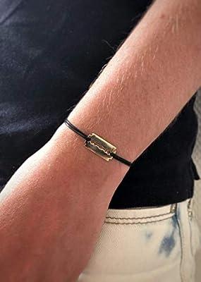 Bracelet Lame de Rasoir en plaqué Or sur cordon