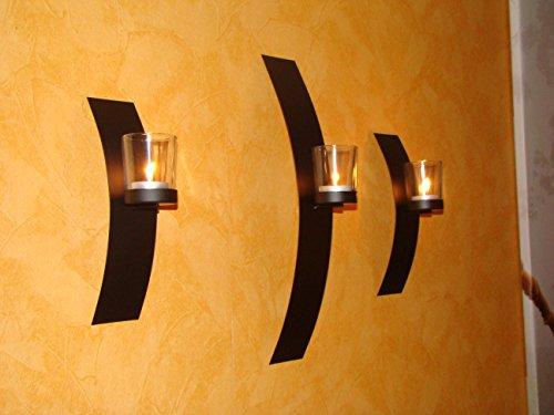 Wand Kerzenhalter 3er Set Metall schwarz Teelicht Wandkerzenhalter Wandleuchter