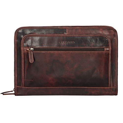 STILORD 'Maximilian' Bolsa de Portátil 13,3' Portadocumentos Portafolios o Maletín de Cuero Carpeta Conferencia de Trabajo o Negocios para Mujer y Hombre, Color:Kara - marrón