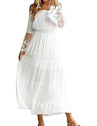 4dad8eb0522 Decha Bohême Maxi Robe de Plage Manches Longues Bateau Cou Dress Casual  Dentelle Patchwork pour Vacances