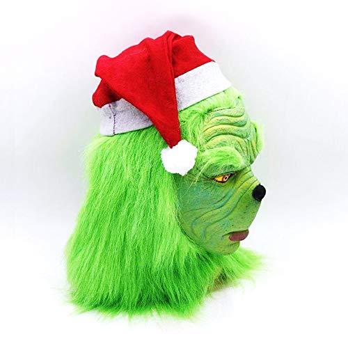mimisasa Weihnachtskostüm Requisiten Scary Mask Latex Helm Erwachsene Masken (Abnehmbare Weihnachtsmütze)