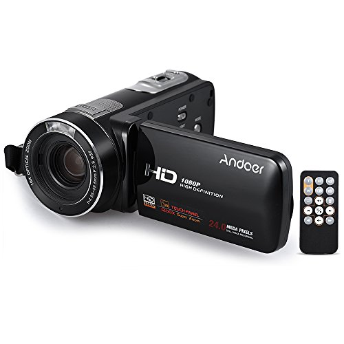 Andoer hdv-z80 1080p full hd 24mp videocamera digitale zoom ottico 10x anti-shake face detect con touchscreen da 3 pollici luce a led telecomando