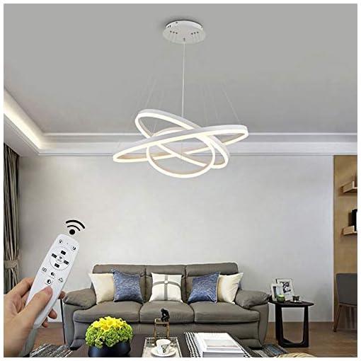 Moderna lampada a sospensione a LED, 3 anelli collezione di vernice bianca, applique a sospensione a luce regolabile Lampadario a soffitto moderno, dimmerabile 2700K – 6500K, con telecomando – 96W