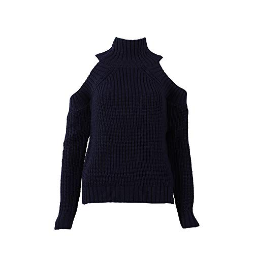 Suéter de BaZhaHei, Suéter de Manga Larga con Cuello Alto Fuera del...