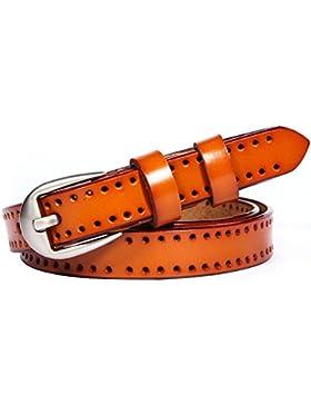 GAXmi Cinturón de Cuero para Mujer Señoras Cinturón Estrecho Ahuecado para Jeans / Vestido con Hebilla de Color...