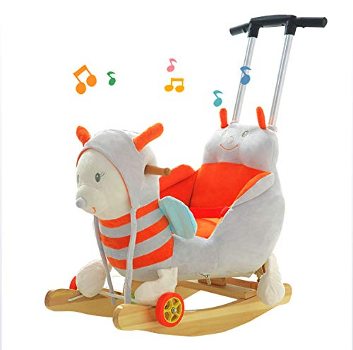 JTYX Bee Children Music Trojan Rocking Horse Baby Rocking Chair Solid Wood Rocking Cradles Birthday Gift JTYX ★ Convenient and practical: The product allows the baby to exercise, grasp, climb, kick, squat, shake, etc., so that the baby can play easily. ★Removable design: The seat cover is detachable, easy to clean, safe in material and does not fade. Made of solid wood and plush, it is more comfortable and safer to sit ★ Heightening base: Scientific anti-rolling, widening and heightening the base to keep the swing amplitude safe. 1