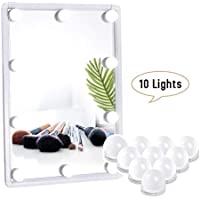 JIANYIJIA iluminación Bulbo Llevado Luces Kit Estilo Hollywood 10 Bombillas LED Regulables Espejo de Maquillaje Lámpara de Baño, White