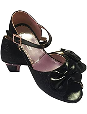 Niña Infantil Sandalias Cierre Adhesivo Boda Dama De Honor Fiesta Metal Zapatos Con Tacón Número