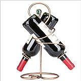 LXYPLM-WR1 Botelleros Estante Vino 2 Botellas de Metal Estante de Cobre for Vino, Estante for Botellas de pie, Listo for armar, fácil de Colocar