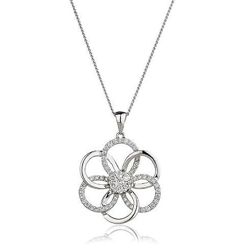 0,45ct Certificato G/VS2Cluster grande fiore diamante ciondolo