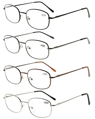 Eyekepper Metal Frame Spring Hinged Arms Reading Glasses Pack of 4 Pairs(1 Pair of per Color) +1.50