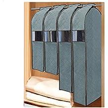 Carbón de bambú Bolsa de almacenamiento para colgar prueba de polvo ropa vestido cubierta de polvo para la ropa bolsa de almacenamiento Protector, juego de 4