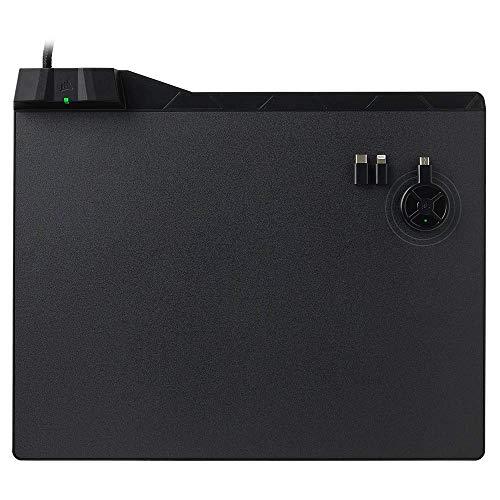 Corsair MM1000 Wireless Charging Gaming-Mauspad (für Corsair Dark Core SE, mit Kabelloser Qi-Ladezone inkl. Smartphone Adapter mit USB-C und USB-Micro) (Generalüberholt) (Qi Charging Wireless Pad)