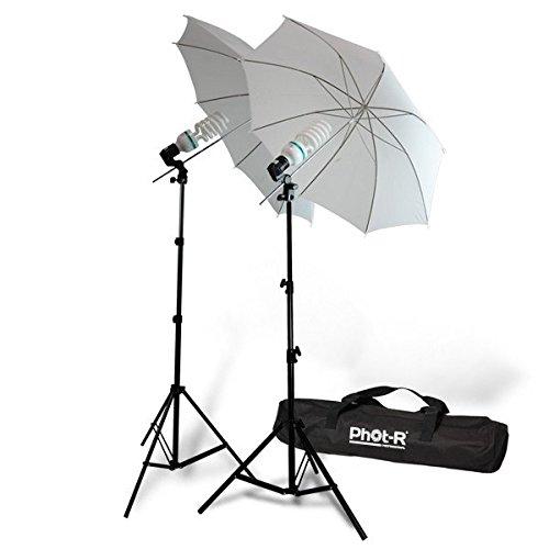 Phot-R 2000W Dual-Studio-Beleuchtung Kit E27 mit 2X 200W 5500K Birnen 2X 33 Lichtschirme 2X 80-200cm Light Stand 2X Reflektorschüssel + Carry Bag Professionelle Porträt Produkt für Videoaufnahme -
