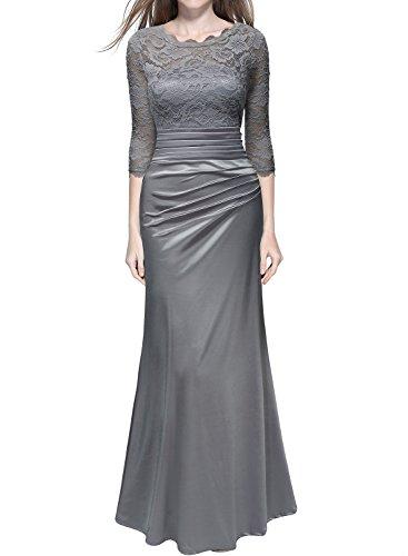 Miusol Damen Elegant Abendkleid Rundhals Graue Spitzen Brautjungfer Cocktailkleid Vintage Cocktailkleid Langes Kleid Grau Gr.XL