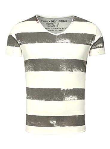 Key Largo Herren T-Shirt AIRLINE Vintage Look Gestreift mit Ziernähten V-Ausschnitt grau M - Grau Gestreiftes Shirt