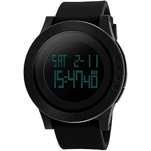 CIVO Relojes de Pulsera Para Hombre Digital de los Deportes del Reloj de la Cara Grande Militar 5ATM Relojes Impermeables de Goma Llevado del Simple Ciudadano del Reloj del Deporte Negro