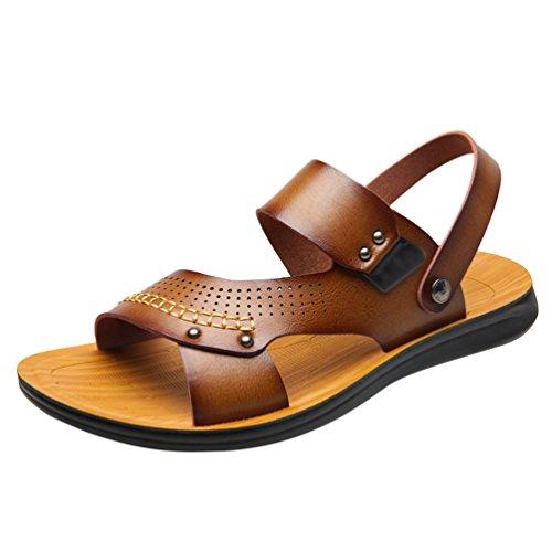 Chenyang sandali sportiv estivi uomo ciabatte pu cuoio sandalo scarpe sportivi outdoor beach cachi 38