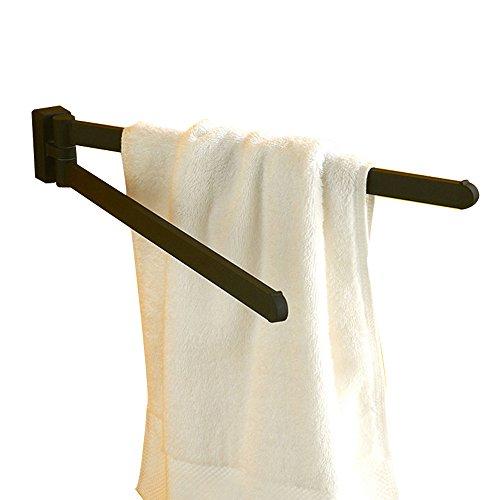 CASEWIND 2 Drehbare Handtuchhalter Handtuchstange, Edelstahl Konstruktion mit Legierung Boden Schwarz Gummifarbe Finished zum Bohren Amerikanisch Cool Stil (Drehbarer Handtuchhalter)
