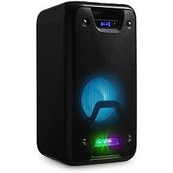 auna PSS60 • Enceinte Portable • Enceinte Bluetooth • Sono pour fête • Haut-Parleur • USB et Slot SD • Bluetooth 3.0 • Mode économie d'énergie • LED Effet Disco • poignée • Noir