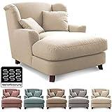 Cavadore XXL-Sessel Assado / Großer Polstersessel in beige/weiß mit Holzfüßen, großer Sitzfläche, Polsterung und 2 weichen Zierkissen / 109x104x145 (BxHxT)