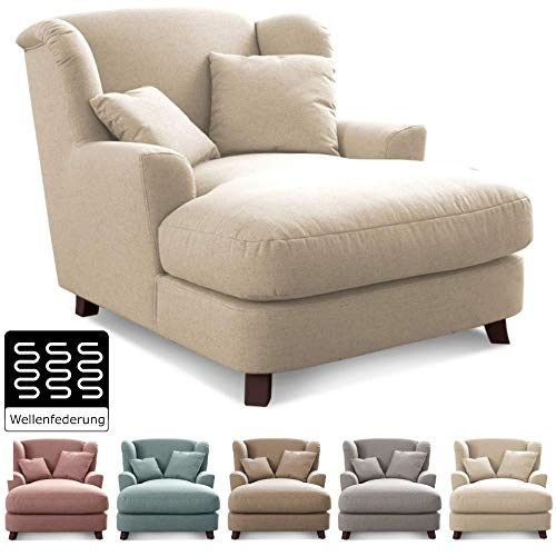 Cavadore XXL-Sessel Assado / Großer Polstersessel mit Holzfüßen und großer Sitzfläche / Inkl. 2 Zierkissen / 109 x 104 x 145 / Flachgewebe Beige