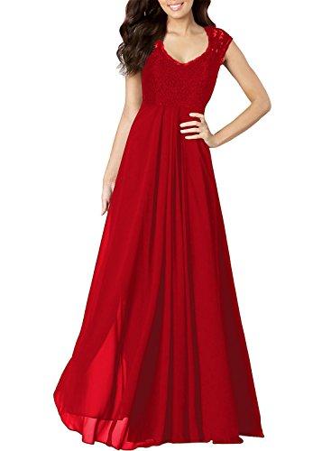 Miusol Damen Aermellos V-Ausschnitt Spitzenkleid Brautjungfer Cocktailkleid Chiffon Faltenrock Langes Kleid Rot Groesse (Ballkleider)