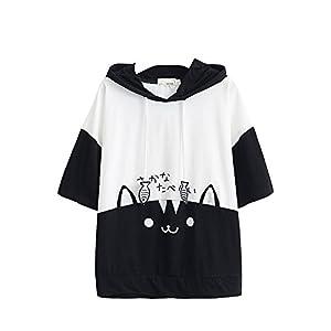 Camiseta con capucha para mujer,