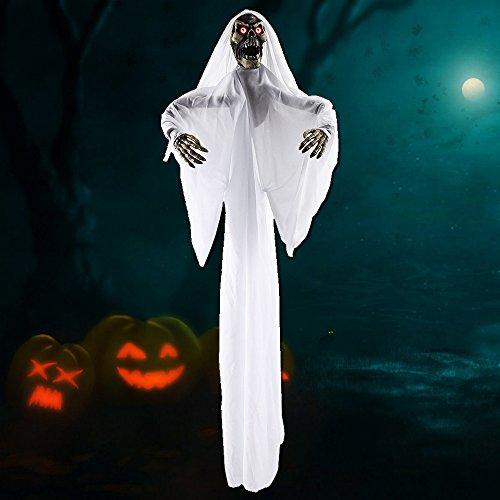Halloween Dekorationen Scary Animierte Aufhängen Ghost Requisiten Life Größe für Halloween Décor Indoor Outdoor Partyzubehör weiß (Halloween Animierte Grüße)