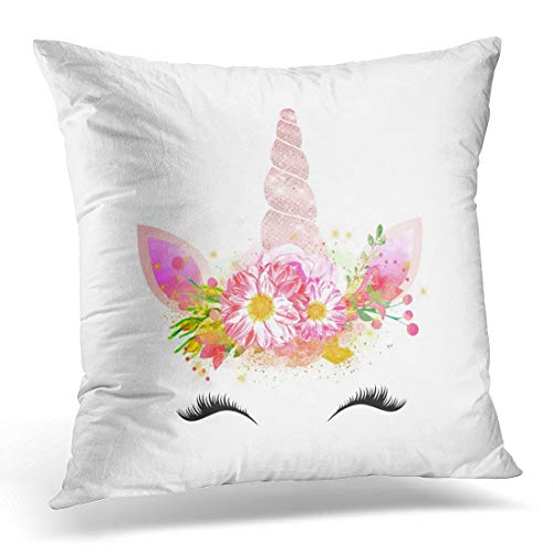 (Throw Pillow Cover Pink Makeup Unicorn Smiling Lashes Black Rose Flowers Face Decorative Pillow Case Home Decor Square 18x18 Inches Pillowcase)