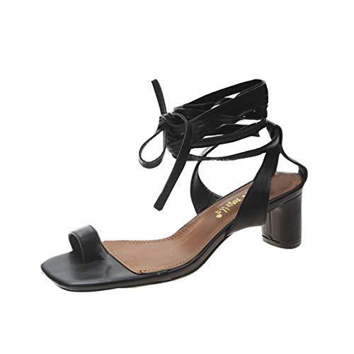 High Heel Wild KnöChel Riemchen Keilsandalette SchnüRschuhea Slippers Shoe Plateau Sandalette Sommerschu rutschfeste Mode Flip-Flop-Sandalen RöMische Schuhe ()