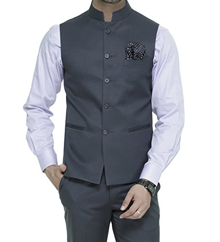 ManQ Men's Band Collar Slim Fit Formal/Party Waist coat (S17)