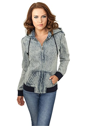 Urban Classics Ladies Acid Wash Zip Hoody Giacca di jeans donna blu XS