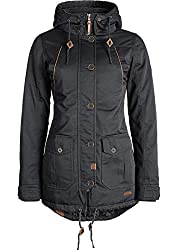 DESIRES Annabelle Damen Übergangsparka Parka Übergangsjacke Lange Jacke mit Kapuze, Größe:M, Farbe:Dark Grey (2890)