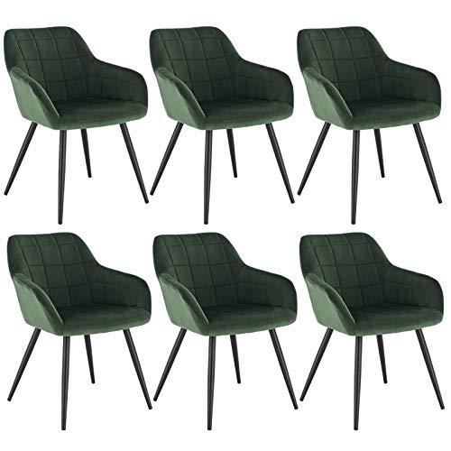 WOLTU 6 x Esszimmerstühle 6er Set Esszimmerstuhl Küchenstuhl Polsterstuhl Design Stuhl mit Armlehne, mit Sitzfläche aus Samt, Gestell aus Metall, Dunkelgrün, BH93dgn-6