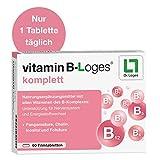 vitamin B-Loges komplett Nahrungsergänzung - 60 Tabletten, Komplex aus allen B-Vitaminen und Vitaminoiden, Vitamin B1 B2 B3 B5 B6 B7 für Nerven und Energiestoffwechsel