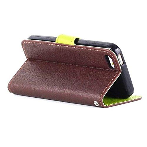 iPhone Case Cover Feuille Fermeture Magnétique Style Premium PU Leather Case Portefeuille Stand Case avec sangle de la main Folio Pretective Housse Silicone pour IPhone 5 5S SE ( Color : Brown , Size  Brown