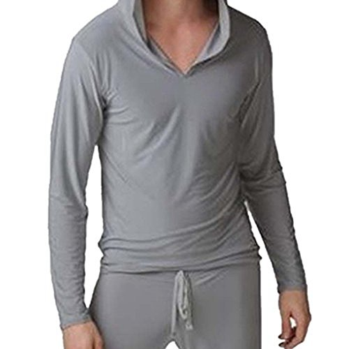 JWBBU Herren Tops Langarm-T-Shirt Yoga Kleidung Sport Herrenlounge Hauskleid (S, Grau)