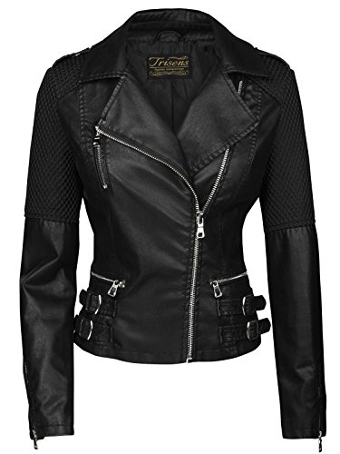 Trisens Damen Jacke Biker KURZ Motorrad Jacke Kunstleder PU, Farbe:Schwarz, Größe:S