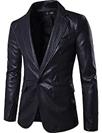 Sportides Herren Faux Leather Fashion Slim Fit One Button Blazer Jacket JZA004