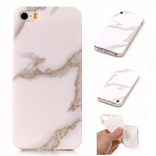 "Coque iPhone 5s, SsHhUu Ultra Mince [Marbre Pattern] Flexible Caoutchouc Doux TPU Skin Case Bumper Silicone Gel Anti-Scratch Cover pour Apple iPhone 5 / 5s / SE (4.0"") Rose-Blanc-Noir Jade Blanc"