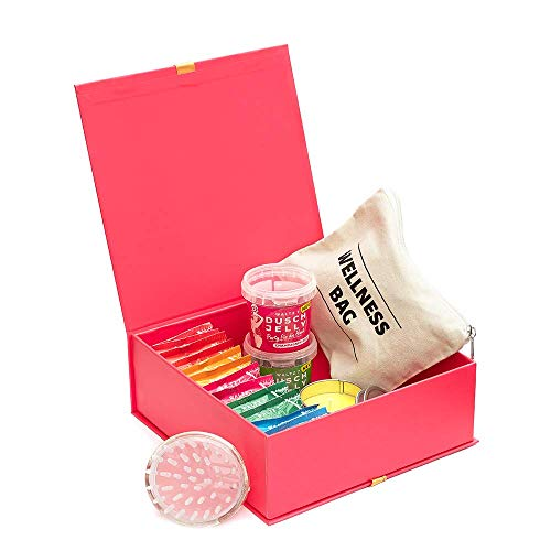 Wellness Geschenkset Frauen 25-teilig mit Premium Duschbomben Duschjellies Baumwoll Kosmetiktasche und Massagebürste Geschenk für Freundin Geschenkbox Duschbombe WALTZ7