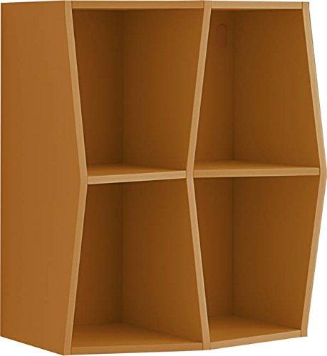 Giessegi Job 7538, Libreria Prisma Appesa a Muro, Legno, Mandarino, 316 x 40 x 40 cm