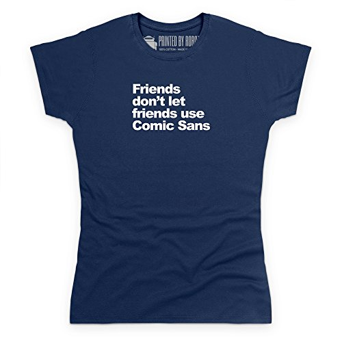 Comic Sans Friends T-Shirt, Damen Dunkelblau