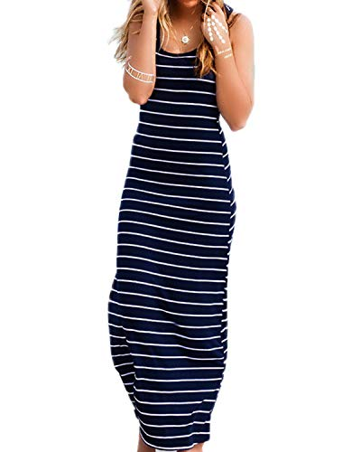 Kenoce Damen Ärmelloses Langes Streifen Stretch Strandkleid Sommer Baumwolle weiches Kleid Blau M