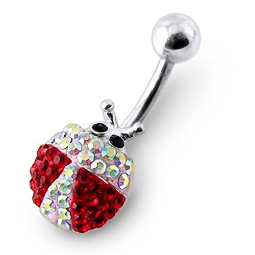 Bijou de Corps anneau de nombril en argent motif coccinelle avec multi pierres de cristal Rainbow