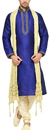 Indian Poshakh Men's Bangalore Silk Sherwani (1213_44, 44, Blue and Beige)